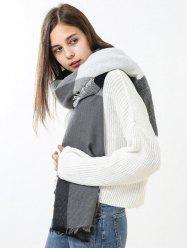 Fringe Brim Checked Long Wrap Scarf -