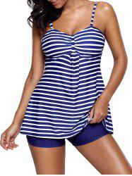 Striped Push Up Tankini Set - DEEP BLUE L