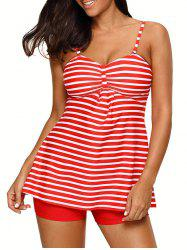 Ensemble à rayures push-up Tankini - Rouge XL