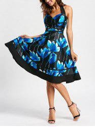Flower Ink Print Halter 50s Swing Dress -