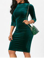 Sleeved Velvet Bodycon Pencil Dress -