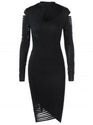 Ripped Sleeved Bodycon Fitted Cut Out Dress -