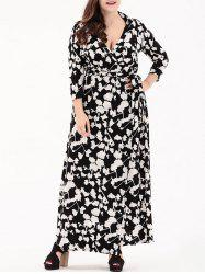 Print Plus Size Long Wrap Dress -