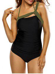 Bandage Insert One Piece Swimsuit - BLACK L