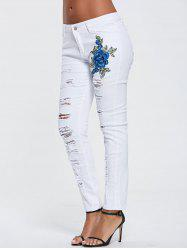 High Waisted Embroidered Ripped Skinny Jeans -