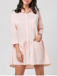 Drop Shoulder Patch Pocket Shirt Dress -