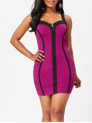 Color Block Sleeveless Bodycon Club Dress - TUTTI FRUTTI M