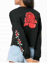 Rose Print Raw Hem Sweatshirt -