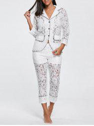 Lace Shirt with Pants Pajama Set -