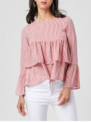 Bell Sleeve Layered Striped Blouse -