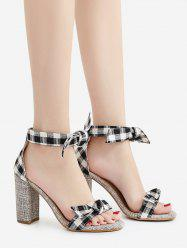 Plaid Pattern Bowknot Sandals -