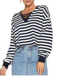 Striped Lace Up Cropped T Shirt -