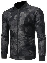 Zip Up Leaves Print Bomber Jacket -
