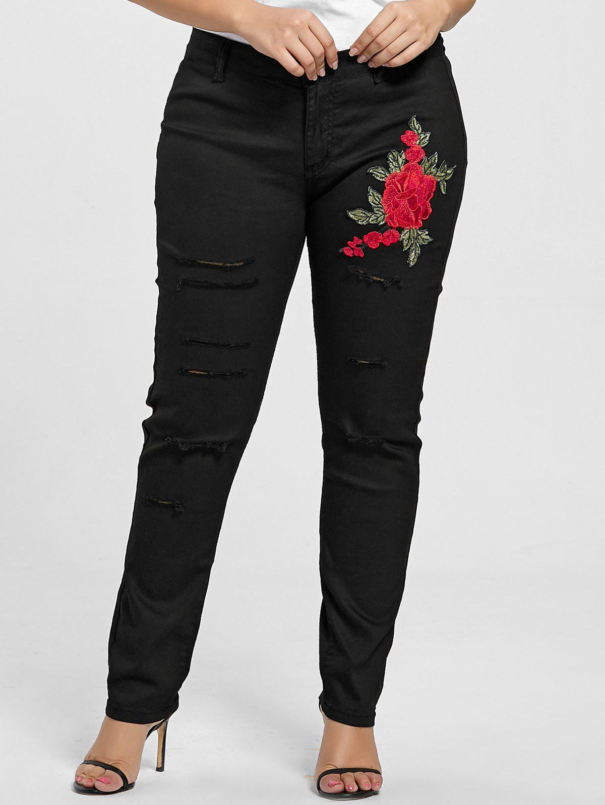 Plus Size Ripped Floral Embroidered JeansWOMEN<br><br>Size: 3XL; Color: BLACK; Style: Fashion; Length: Normal; Material: Cotton,Jeans,Polyester; Fit Type: Skinny; Waist Type: Mid; Closure Type: Zipper Fly; Pattern Type: Floral; Embellishment: Embroidery; Pant Style: Pencil Pants; Weight: 0.3900kg; Package Contents: 1 x Jeans;