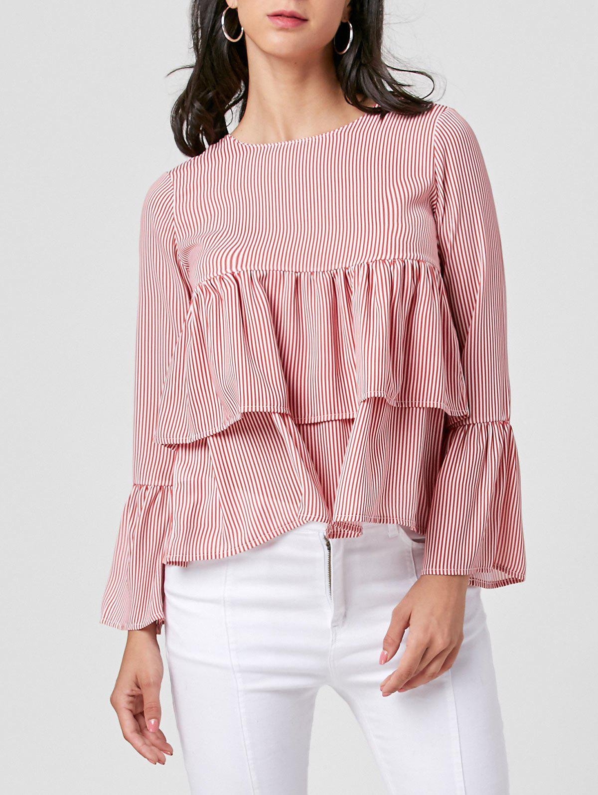 Online Bell Sleeve Layered Striped Blouse
