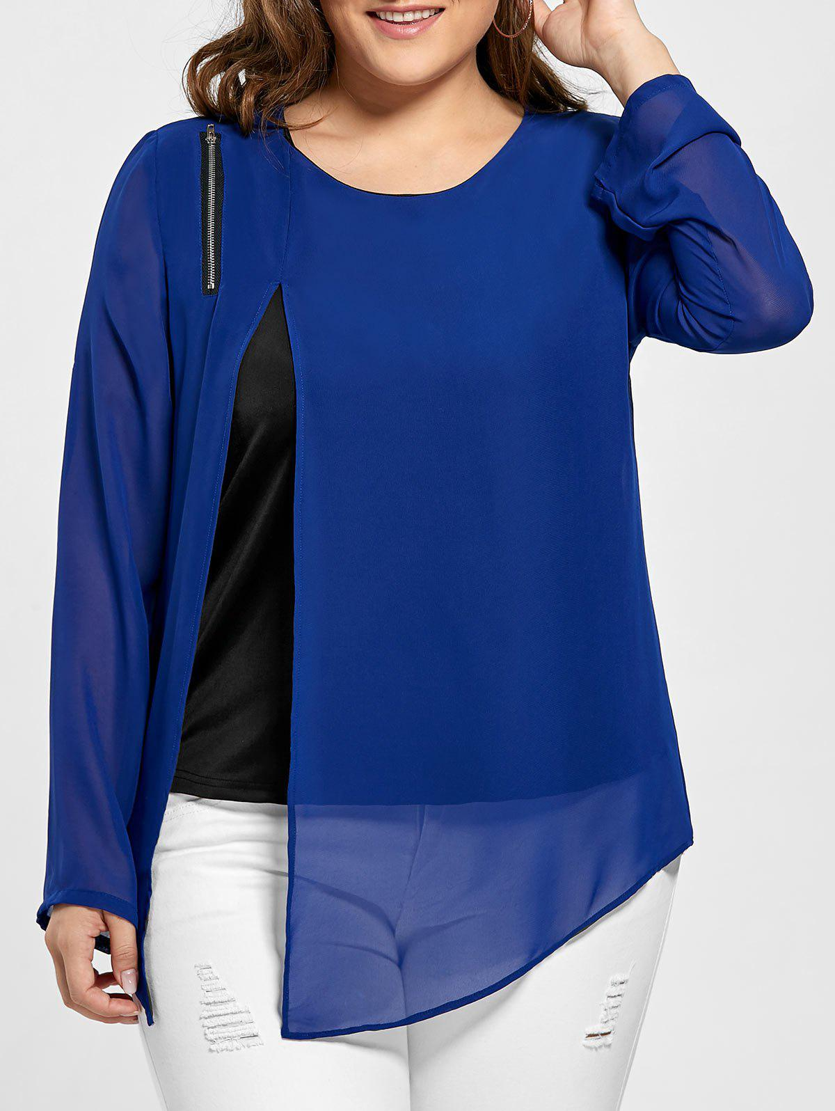 Plus Size Slit Asymmetrical Zip Embellished BlouseWOMEN<br><br>Size: 2XL; Color: BLUE; Material: Polyester; Shirt Length: Regular; Sleeve Length: Full; Collar: Round Neck; Style: Fashion; Season: Fall; Embellishment: Zippers; Pattern Type: Others; Weight: 0.2900kg; Package Contents: 1 x Blouse;