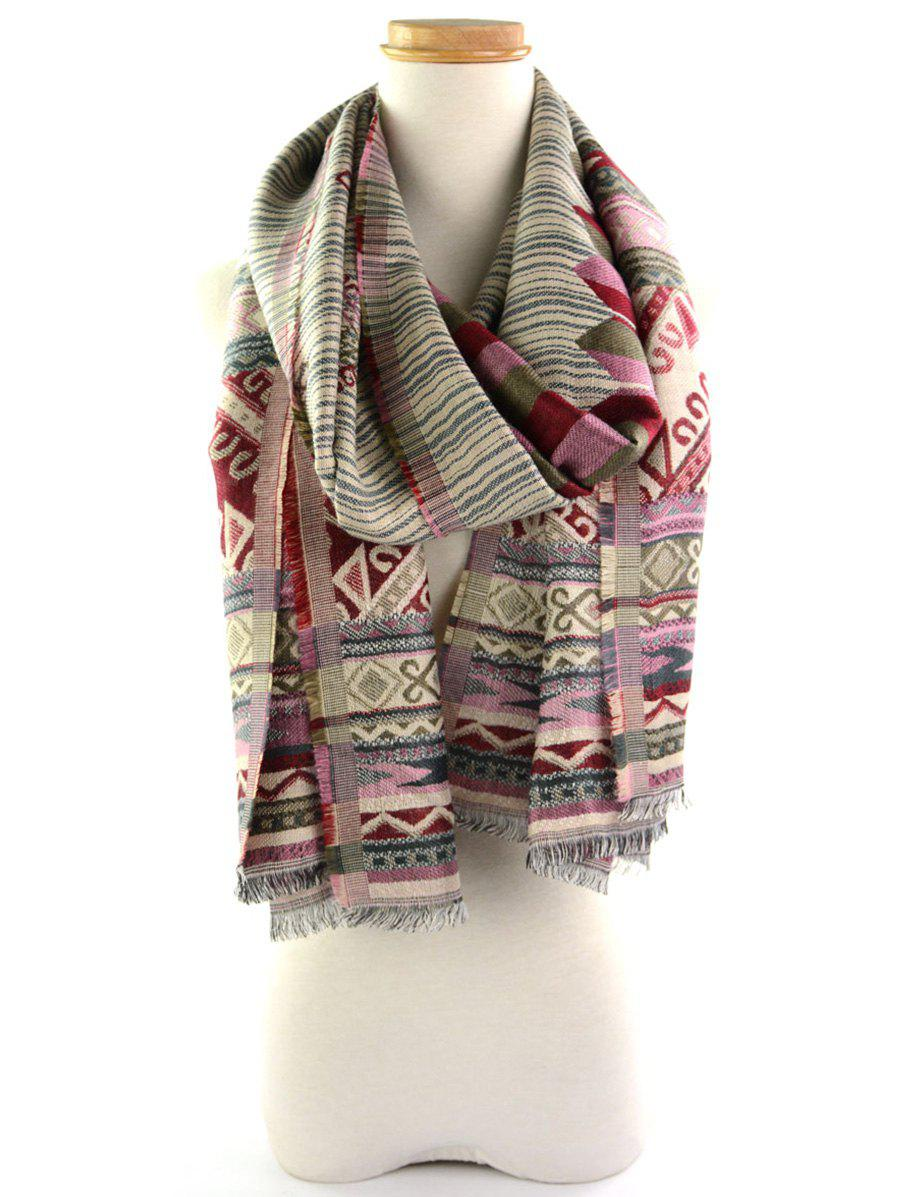 Fringed Brim Geometrical Floral Pattern Ethnic Wrap ScarfACCESSORIES<br><br>Color: RED AND GREEN; Scarf Type: Scarf; Group: Adult; Gender: For Women; Style: Vintage; Pattern Type: Floral,Geometric; Season: Fall,Spring,Summer,Winter; Scarf Length: 200CM; Scarf Width (CM): 70CM; Weight: 0.2500kg; Package Contents: 1 x Scarf;