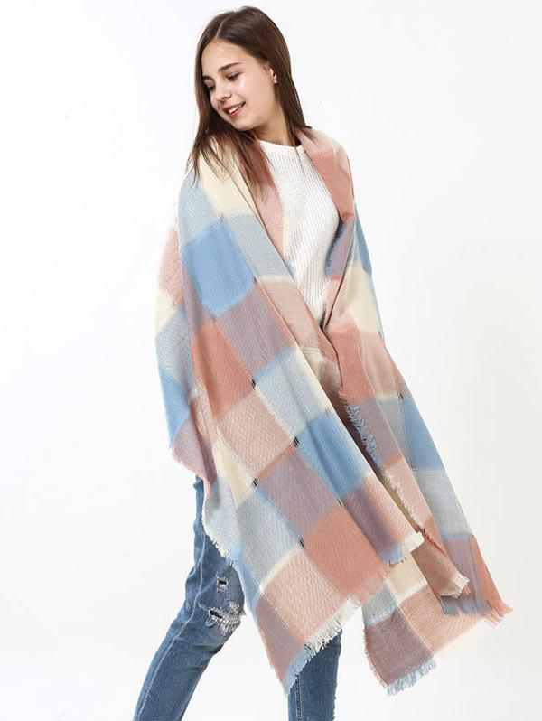 Plaid Knitting Broken Hole Design Fringe Brim ScarfACCESSORIES<br><br>Color: BLUE AND PINK; Scarf Type: Scarf; Group: Adult; Gender: For Women; Style: Fashion; Pattern Type: Plaid; Season: Fall,Spring,Summer,Winter; Scarf Length: 230CM (without fringe); Scarf Width (CM): 70CM; Weight: 0.2500kg; Package Contents: 1 x Scarf;
