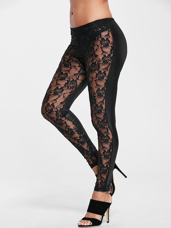 Unique High Waist Sheer Sport Leggings with Lace