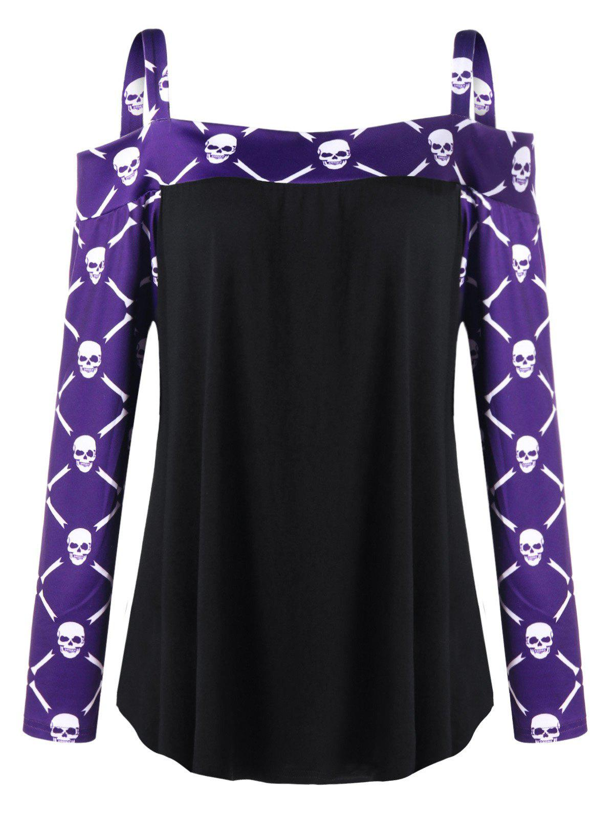 Plus Size Skulls Long Sleeve Cold Shoulder T-shirtWOMEN<br><br>Size: 4XL; Color: COLORMIX; Material: Cotton,Spandex; Shirt Length: Regular; Sleeve Length: Full; Collar: Spaghetti Strap; Style: Fashion; Season: Fall,Spring; Sleeve Type: Cold Shoulder; Pattern Type: Skulls; Weight: 0.3000kg; Package Contents: 1 x T-shirt;