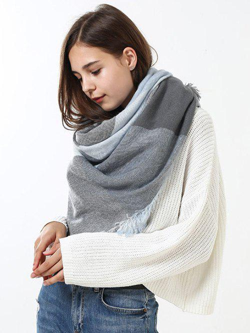 Fringe Brim Checked Long Wrap ScarfACCESSORIES<br><br>Color: GREY WHITE; Scarf Type: Scarf; Group: Adult; Gender: For Women; Style: Fashion; Pattern Type: Plaid; Season: Fall,Spring,Summer,Winter; Scarf Length: 140CM; Scarf Width (CM): 140CM; Weight: 0.2500kg; Package Contents: 1 x Scarf;