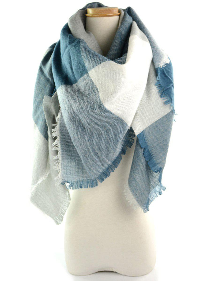 Fringe Brim Checked Long Wrap ScarfACCESSORIES<br><br>Color: BLUE GRAY; Scarf Type: Scarf; Group: Adult; Gender: For Women; Style: Fashion; Pattern Type: Plaid; Season: Fall,Spring,Summer,Winter; Scarf Length: 140CM; Scarf Width (CM): 140CM; Weight: 0.2500kg; Package Contents: 1 x Scarf;