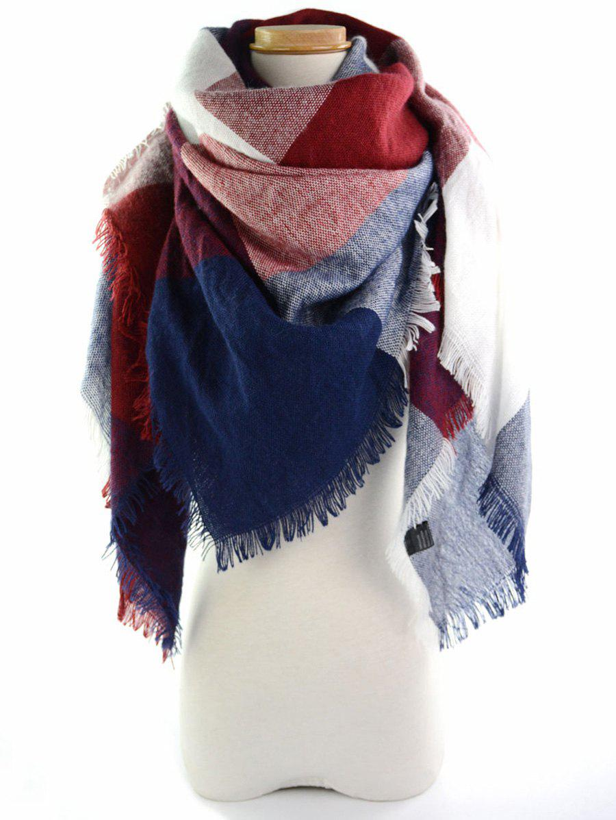 Fringe Brim Checked Long Wrap ScarfACCESSORIES<br><br>Color: WINE RED; Scarf Type: Scarf; Group: Adult; Gender: For Women; Style: Fashion; Pattern Type: Plaid; Season: Fall,Spring,Summer,Winter; Scarf Length: 140CM; Scarf Width (CM): 140CM; Weight: 0.2500kg; Package Contents: 1 x Scarf;