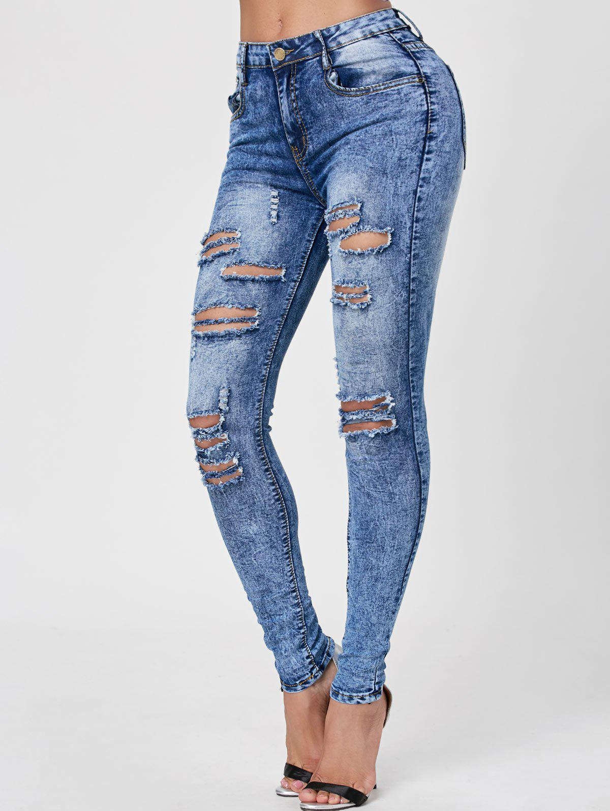 Skiny Acid Wash Ripped JeansWOMEN<br><br>Size: 2XL; Color: DENIM BLUE; Material: Cotton; Length: Normal; Fabric Type: Denim; Wash: Acid Washed; Fit Type: Skinny; Waist Type: Low; Embellishment: Pockets; Elasticity: Elastic; Weight: 0.4000kg; Package Contents: 1 x Jeans;