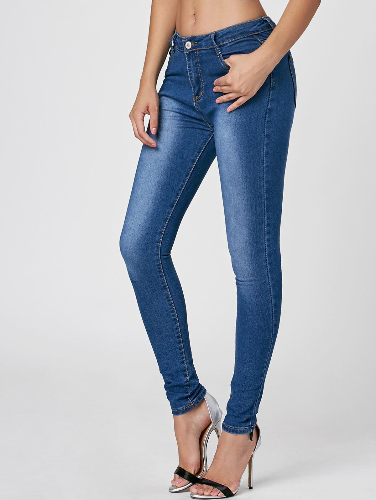 Dark Washed High Waist Skinny JeansWOMEN<br><br>Size: L; Color: CERULEAN; Material: Cotton; Length: Normal; Fabric Type: Denim; Wash: Dark; Fit Type: Skinny; Waist Type: High; Elasticity: Elastic; Weight: 0.4500kg; Package Contents: 1 x Jeans;
