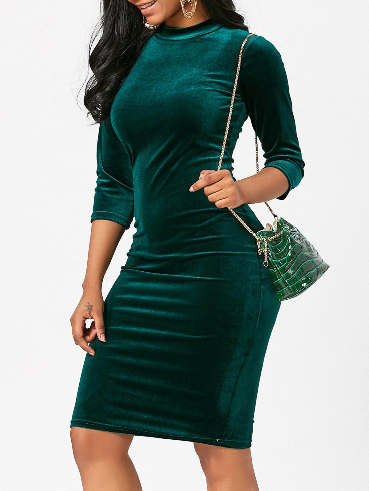 Latest Sleeved Velvet Bodycon Pencil Dress