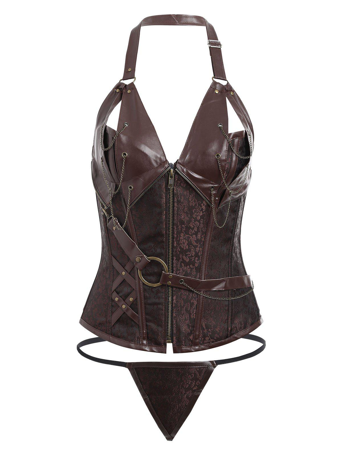 Halter Plus Size Vintage Zip Up CorsetWOMEN<br><br>Size: 6XL; Color: CHOCOLATE; Material: Polyester,Spandex; Pattern Type: Solid; Embellishment: Chains,Criss-Cross,Zippers; Weight: 0.4200kg; Package Contents: 1 x Corset  1 x T Back;