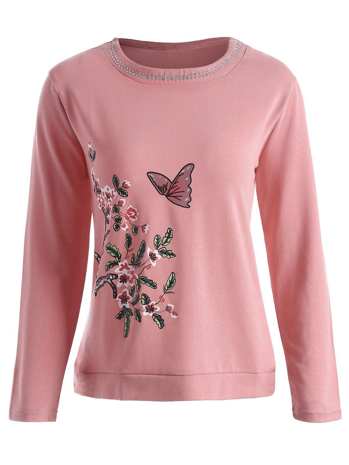 21d32464bb6 2019 Plus Size Butterfly Floral Print Rhinestone Embellished Tee ...