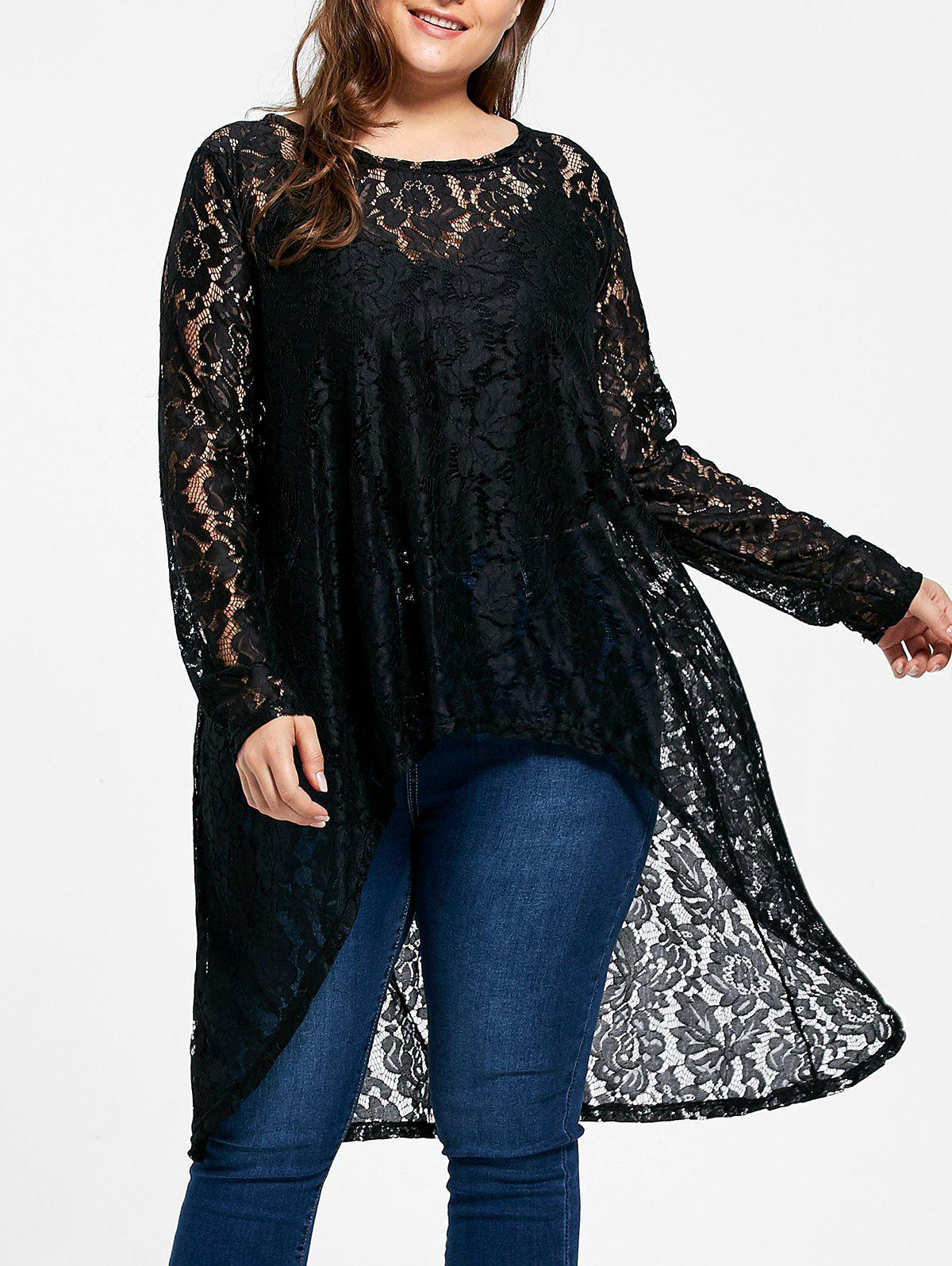 Plus  Size High Low Sheer Flower Lace BlouseWOMEN<br><br>Size: 5XL; Color: BLACK; Material: Lace,Polyester; Shirt Length: Long; Sleeve Length: Full; Collar: Round Neck; Style: Fashion; Season: Fall,Spring; Embellishment: Dovetail,Hollow Out,Lace; Pattern Type: Solid; Weight: 0.2500kg; Package Contents: 1 x Blouse;