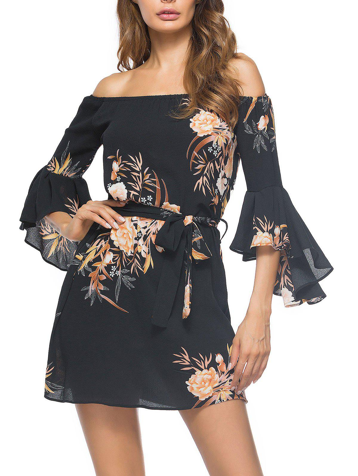 Best Flower Print Off The Shoulder Bell Sleeve Mini Dress