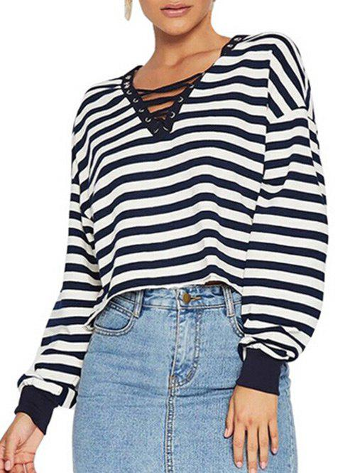 Chic Striped Lace Up Cropped T Shirt