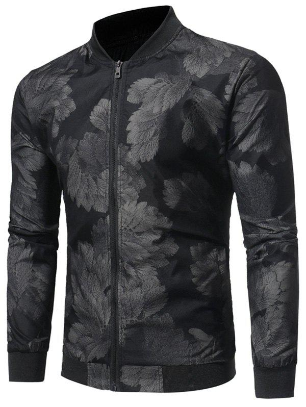 Outfits Zip Up Leaves Print Bomber Jacket