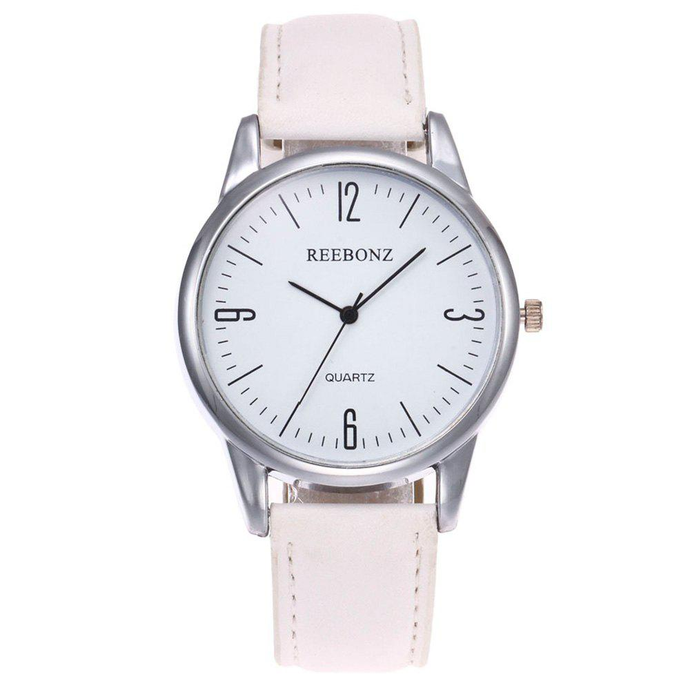 Round Face Faux Leather Strap Quartz WatchJEWELRY<br><br>Color: WHITE; Gender: For Women; Style: Fashion; Type: Quartz watch; Index Dial: Analog; Case material: Alloy; Band material: PU Leather; Movement: Quartz; Dial Shape: Round; Water-Proof: No; Case Thickness(MM): 9; Dial Diameter: 4(CM); Band Length(CM): 24.5; Band Width(CM): 1.8; Package Contents: 1 x Watch;