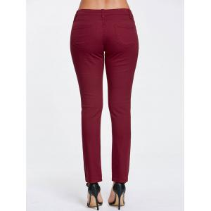 Skinny Ripped High Waisted Pants - WINE RED S