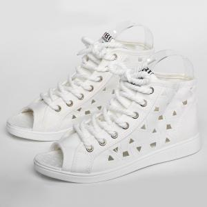 Peep Toe Hollow Out Canvas Shoes - WHITE 37