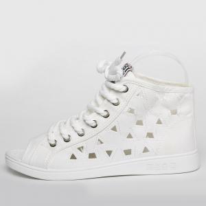 Peep Toe Hollow Out Canvas Shoes - WHITE 39