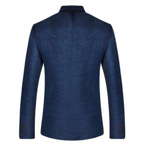 Single Breasted Lapel Velveteen Blazer - CADETBLUE XL