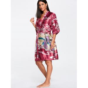 Floral Belted Satin Sleepwear Kimono - WINE RED S