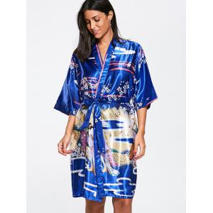 Kimono à encolure en satin - Royal 2XL