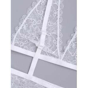 See Through Cut Out Lace Teddy - Blanc L