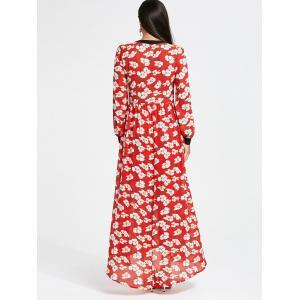 Floral Print Bowknot Long Sleeve Maxi Dress - RED S