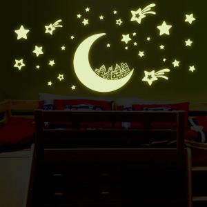 Moon Stars Night Sky Printed Wall Sticker - LUMINOUS GREEN