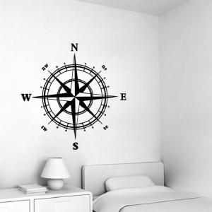 Home Decor Azimuth Coordinate Printed Wall Sticker - BLACK