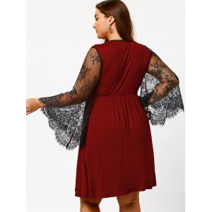 Plus Size Lace Sleeve Holiday Dress - BURGUNDY 5XL