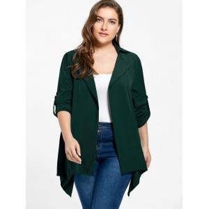 Plus Size Roll-tab Sleeve Asymmetrical Jacket - ARMY GREEN 2XL
