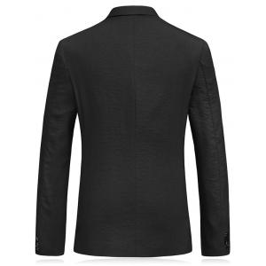 Lapel Collar Flap Pocket Business Blazer - Noir L